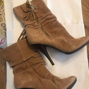 Michael Kors Suede Tan Boots with Tassels